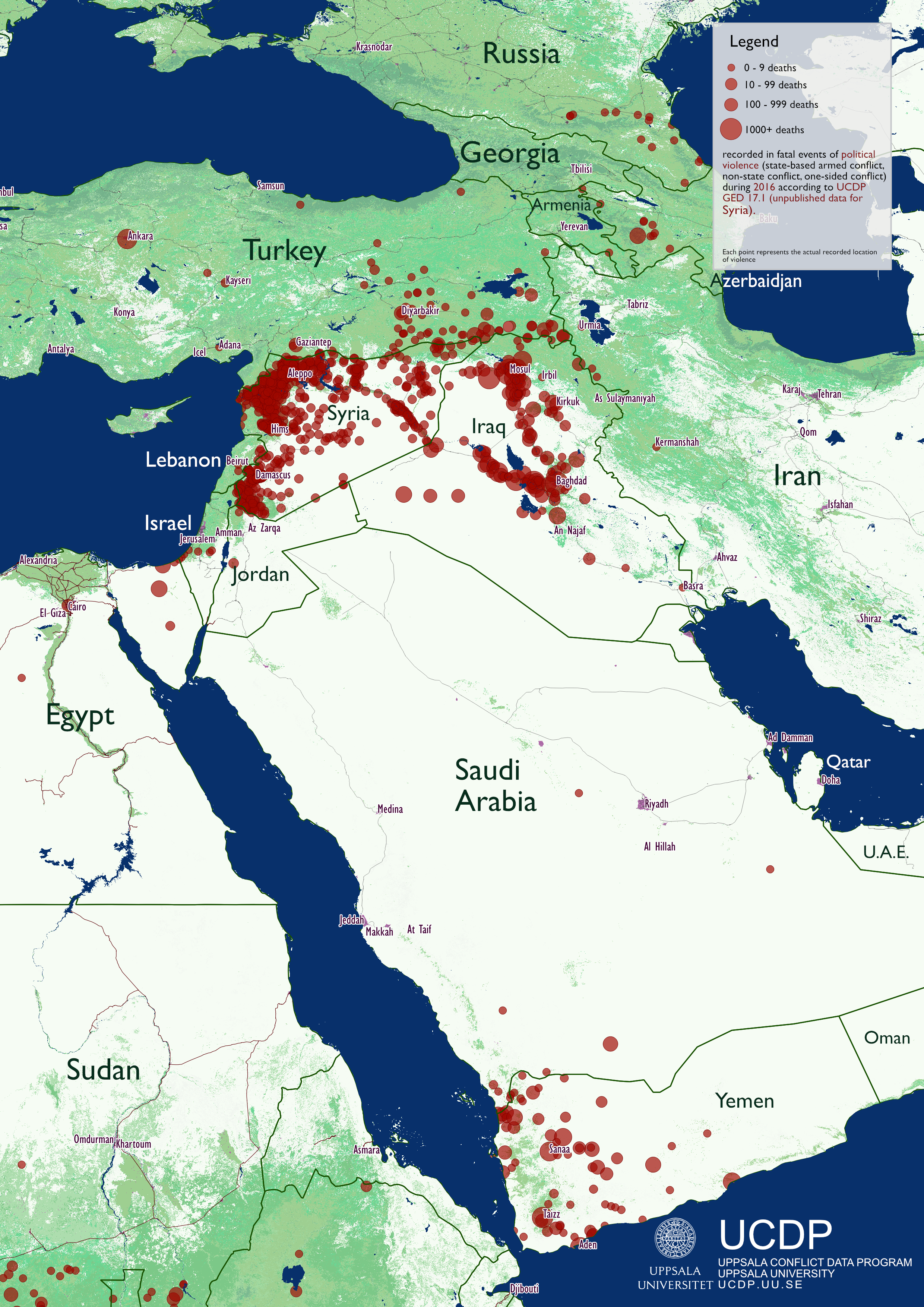 map of the worlds conflicts in 2016 ucdp ged map middle east 2016